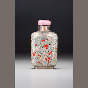 An inside-painted rock-crystal 'hundred boys' snuff bottle Ye Zhongsan, dated 1918