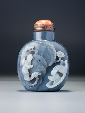 An inscribed black and white nephrite 'scholar and landscape' snuff bottle Probably Sun (?) Bing, Suzhou, 1760–1840