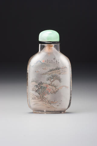 An inside-painted rock-crystal 'calligraphy and landscape' snuff bottle Ma Shaoxuan, Beijing, 1897 (the bottle: 1750–1897)