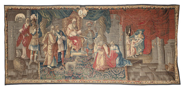 A large Flemish mid to late 17th century tapestry circa 1650-80,