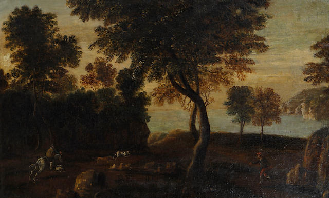 Flemish School, 17th Century A hunting scene in a wood