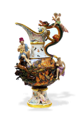 "A large Meissen ewer, ""Fire"" late 19th/early 20th century"