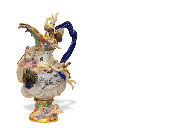 A large Meissen Ewer, 'Air' late 19th/early 20th century