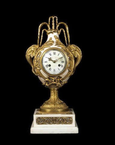 A French late 19th century gilt-bronze and white marble clockby Eugène Hazart, Paris