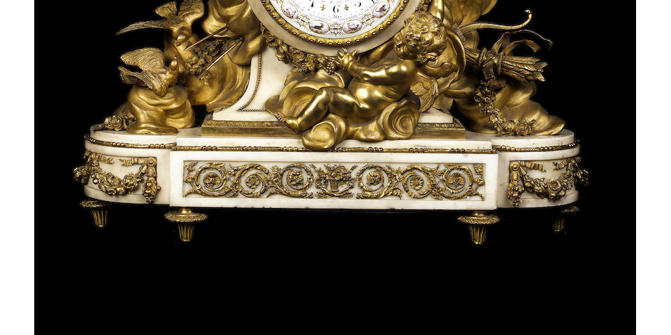 An impressive French late 19th century gilt-bronze and white marble clockby Emmanuel Alfred Beurdeley, Paris