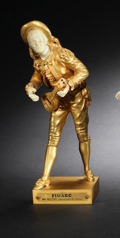 Bouret 'Figaro' a Gilt Bronze and Ivory Study of a Mandolin Player, circa 1920