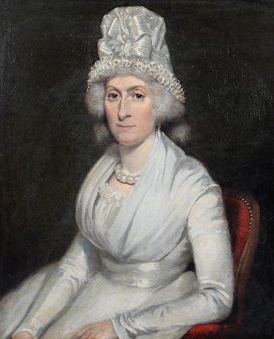Follower of Sir William Beechey (British, 1753-1839) Portrait of a seated woman in white