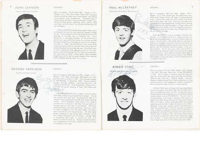 An autographed copy of 'The Fabulous Beatles Song Album', 1963,