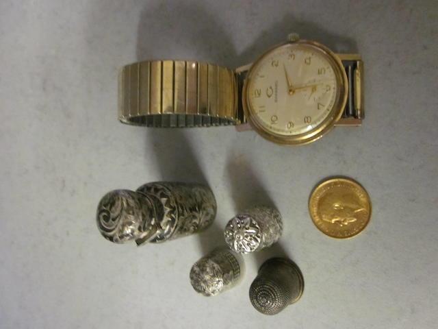 A 9 carat gold gents Garrard bracelet watch,  (6)