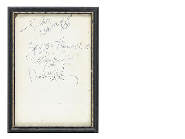 A set of autographs of the Beatles, 1964,