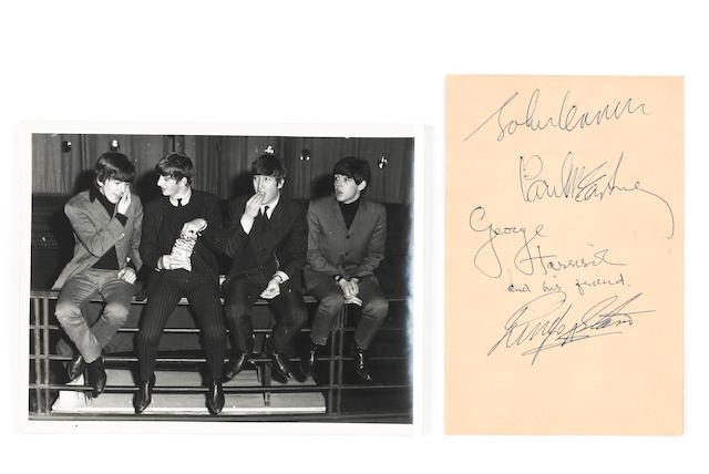The Beatles: A set of autographs, with a photograph of the group at the Lewisham Odeon, 1963,