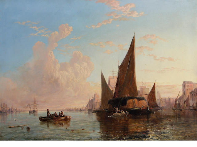 George Stainton (British, fl.1866-1890) Fishing vessels at sunset