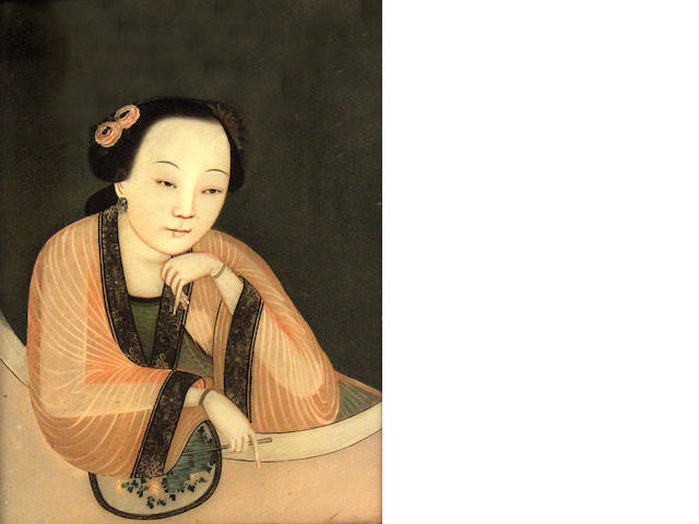 A Chinese reverse glass mirror painting of an elegant lady   third quarter 19th century holding a painted fan and wearing a diaphanous gown,with jewelled earrings and golden bangles, in original ebonized  frame with slatted wooden back,