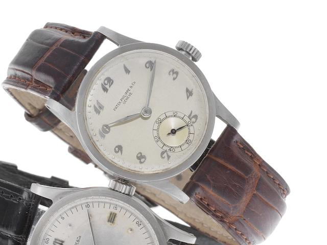 Patek Philippe. A stainless steel manual wind wristwatch together with Extract from Archives Calatrava, Ref:96, Case No.626311, Movement No.922528, Sold 27th October 1942