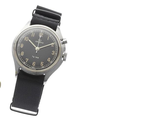 Lemania. A stainless steel manual wind flyback single button wristwatch made for the Swedish Airforce TG195, Issued in 1958