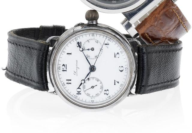 Longines. An early silver cased single button chronograph wristwatch Case number 2976538, Circa 1910