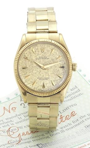 Rolex. An 18ct gold automatic bracelet watch Oyster, Ref:6567, Case No.284582,  Circa 1968
