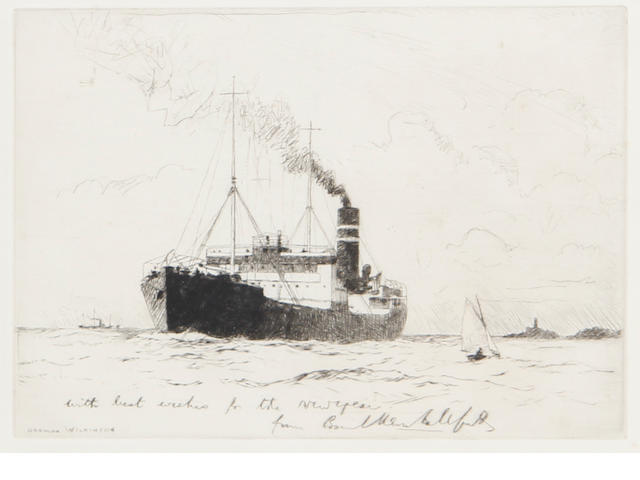 Norman Wilkinson (British, 1878-1971) Untitled Drypoint, on wove, signed in the plate with a New Year's greeting inscription, 157 x 226 mm (7 x 9 in)(PL). With another by an unknown hand, signed and inscribed 'on the tram lines, 1944 in pencil, 110 x 240 mm (4 3/8 x 9 1/2 in) (PL) (unframed)
