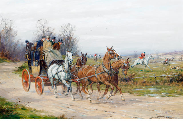 George Wright (British, 1860-1942) A stagecoach drawing alongside a hunt
