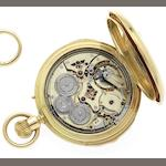 Louis-Benjamin Audemars. A very fine and rare 18ct gold two-train minute repeating half hunter pocket watchNumbered 9057, retailed by Charles Klaftenberger, London 1877
