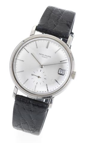 Patek Philippe. A fine and rare 18ct white gold automatic calendar wristwatch together with Extract from Archives Ref:3445, Case No:326227, Movement No.1128995,  Made 1969, Sold 26th August 1969