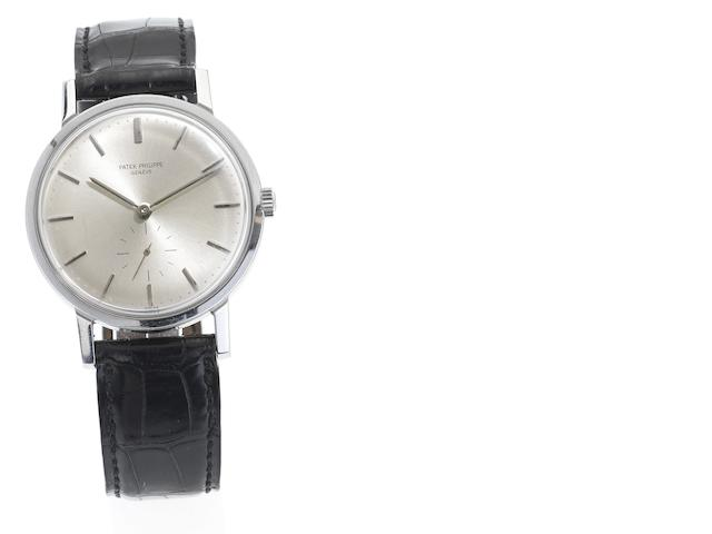 Patek Philippe. A fine stainless steel automatic wristwatch together with Extract from Archives  Calatrava, Ref:3466, Case No:2644181, Movement No. 1115113, Made in 1965, Sold March 3rd 1966