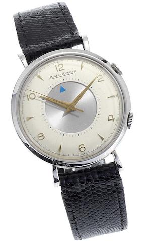 Jaeger LeCoultre. A fine stainless steel manual wind centre seconds alarm wristwatchMemovox, Case No.622169, Movement No.902890, Circa 1950