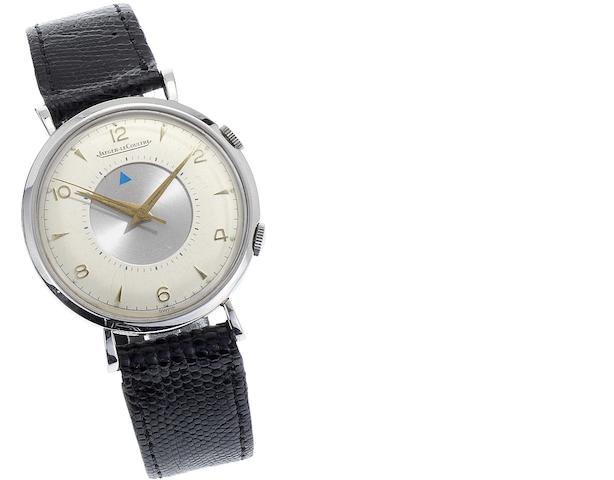 Jaeger LeCoultre. A fine stainless steel manual wind centre seconds alarm wristwatch Memovox, Case No.622169, Movement No.902890, Circa 1950