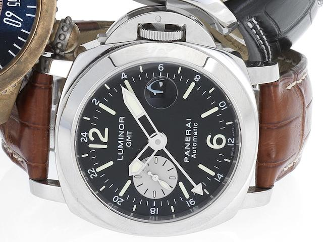 Officine Panerai.  A fine cushion shaped automatic stainless steel calendar diver's watch with separate 24 hour indication hand Luminor GMT, PAM00088, No.JO111/3000, Ref:OP6691, Sold 31st May 2007