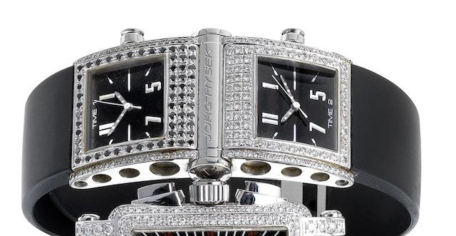 Jorg Hysek. A stainless steel and diamond set quartz dual time-zone wristwatch Abyss Dual-time, Ref:JHM02119, Recent