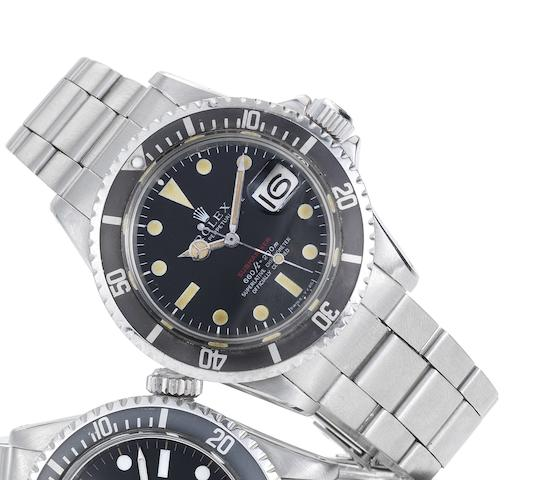 Rolex. A fine and rare stainless steel automatic calendar bracelet watchRed Submariner, Ref:1680, Made in January 1970