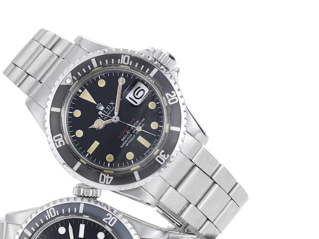 Rolex. A fine and rare stainless steel automatic calendar bracelet watch Red Submariner, Ref:1680, Made in January 1970