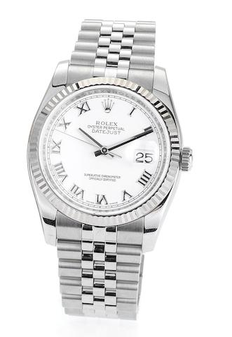 Rolex. A stainless steel automatic centre seconds calendar bracelet watch with Rolex box and papersDatejust, Ref:63200, Case No.Z700499, Sold 5th May 2007