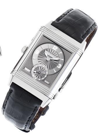 Jaeger LeCoultre. A fine stainless steel manual wind wristwatch Reverso, 'Night and day', Recent