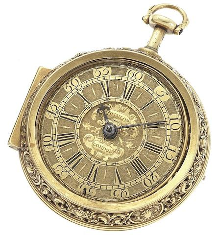 Andrew Dunlop. A very fine and rare early 18th century 22ct gold repoussé repeating pair case pocket watchLondon, Circa 1720