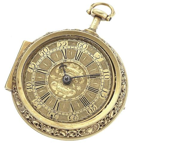 Andrew Dunlop. A very fine and rare early 18th century 22ct gold repoussé repeating pair case pocket watch London, Circa 1720