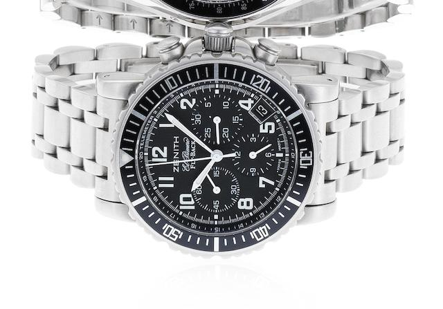 Zenith. A stainless steel automatic chronograph bracelet watch El Primero Fly-Back Rainbow, Sold 20th January 2007