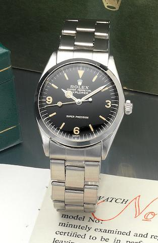 Rolex. A fine and rare stainless steel automatic centre seconds bracelet watch with original box and papers.Explorer, Ref:5500, Made in February 1966, Sold 27th July 1966