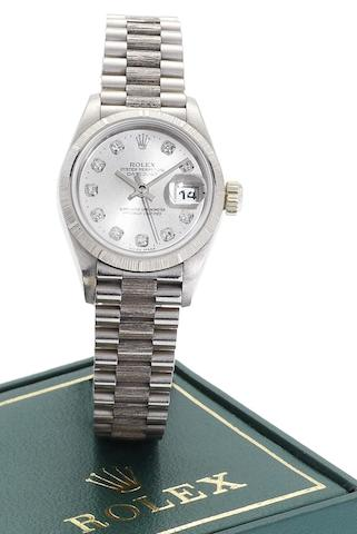 Rolex. A lady's 18ct white gold diamond set automatic calendar bracelet watchDatejust, Ref:69279, Serial No.W924045, Circa 1998