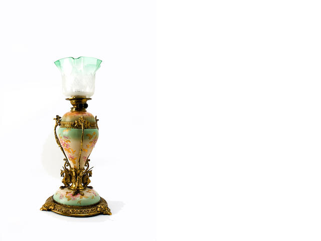 A late Victorian Young's Patent oil lamp