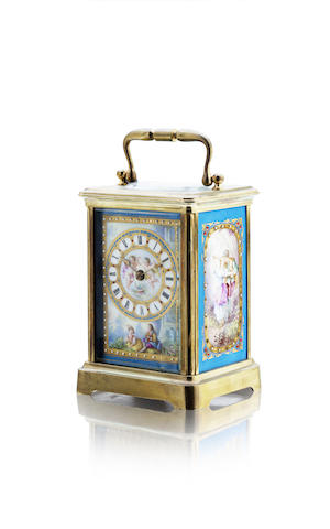 A late 19th century French enamelled carriage clock