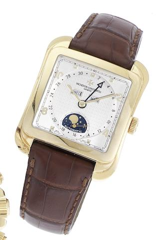 Vacheron Constantin. A fine and large 18ct gold square shaped automatic triple calendar wristwatch with moon phases Vacheron Constantin, Geneve, Automatic, Patrimony Collection Toledo 1952 model, Ref:47300, Case No.778031, Circa 2005