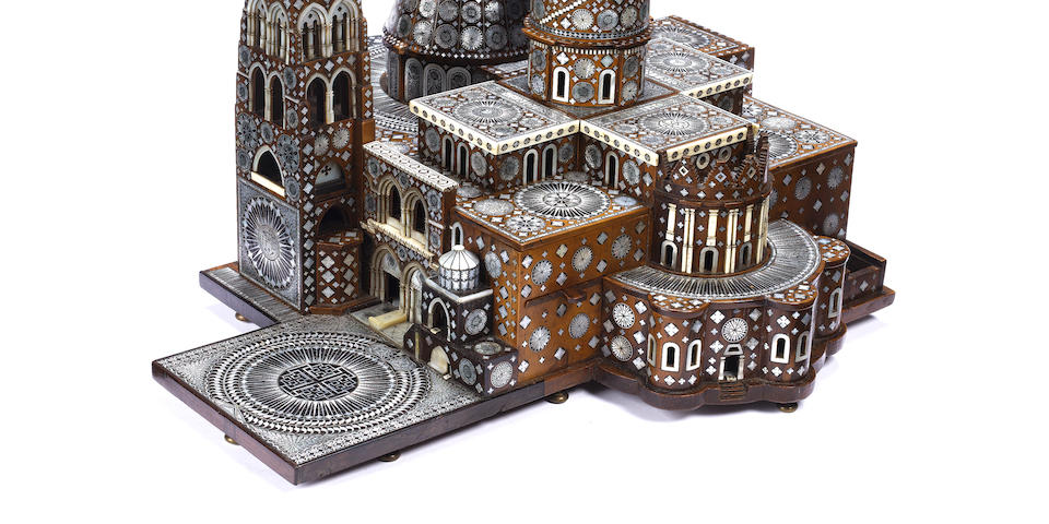 A 17th / 18th century bone, mother of pearl and olive wood model of the Church of the Holy SepulchreJerusalem
