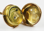 An 18 carat gold pair cased pocket watch by John Alker of Wigan on plated chain with 9 carat fob