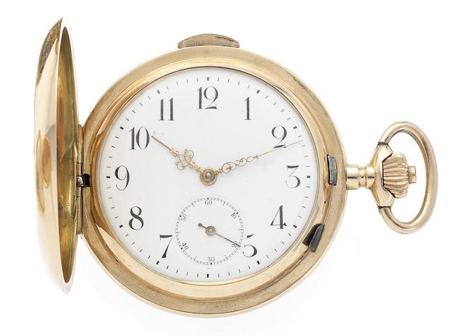 Swiss. A fine late 19th century 18ct gold full hunter quarter repeating pocket watchCirca 1890