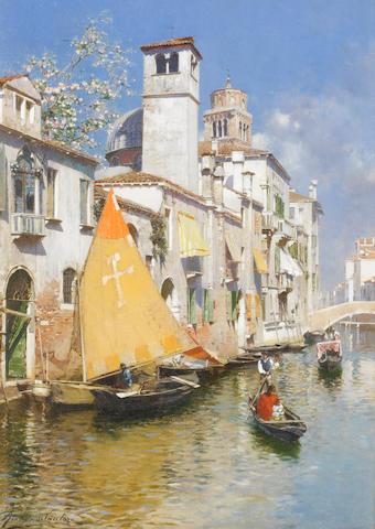 Rubens Santoro (Italian, 1859-1942) Gondolas on a Venetian canal