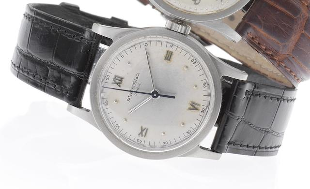 Patek Philippe. A fine and rare stainless steel wristwatch with sweep centre seconds and Roman numerals together with Extract from Archives Calatrava, Ref:96, Case No.614801, Movement No.827970, Made in 1938