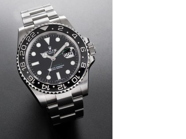 Rolex. A fine stainless steel automatic two time zone calendar wristwatch GMT Master II, Ref:116710, Case No.M045981, Sold 2005