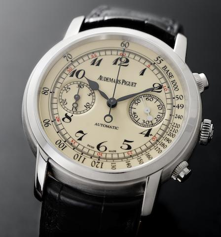 Audemars Piguet. A fine and rare 18ct white gold chronograph wristwatch with box and papersJules Audemars, Case No.G48879, Sold 12th November 2009