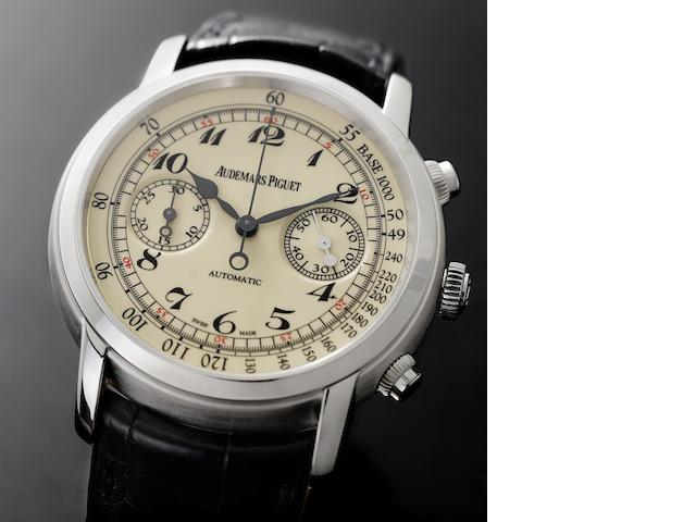 Audemars Piguet. A fine and rare 18ct white gold chronograph wristwatch with box and papers Jules Audemars, Case No.G48879, Sold 12th November 2009